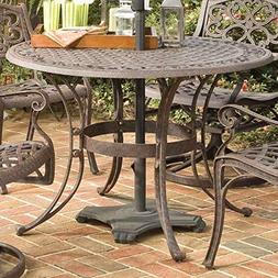 StarSun Depot 42-inch Round Patio Dining Table in Rust Brown