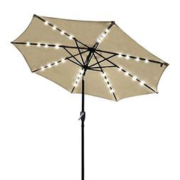KOVAL INC. 9ft Solar LED Outdoor Market Tilt Patio Umbrella