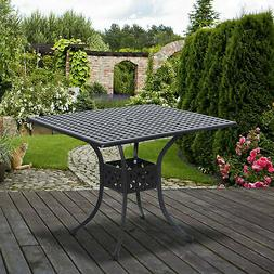 Outsunny Patio Outdoor Square Cast Aluminum Outdoor Dining T
