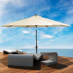 LED steel Pole Patio Solar Umbrella Outdoor Beach Garden Pat
