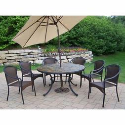 Oakland Living Stone Art All Weather Wicker Patio Dining Set