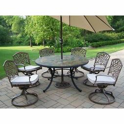 Oakland Living Stone Art Deluxe Patio Dining Set - Seats 6