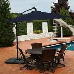 Sunnydaze Navy Blue Outdoor 10-Foot Offset Solar LED Patio U