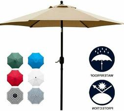 Sunnyglade 7.5' Patio Umbrella with Push Button Tilt/Crank,