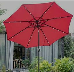 9' Solar 24 LED Lighted Patio Umbrella with 8 Ribs/Tilt Adju