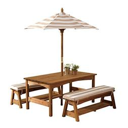 Kids Outdoor Table and Bench Set with Cushions and Umbrella