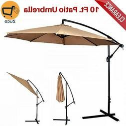 tan patio umbrella offset hanging