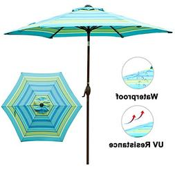 Abba Patio Turquoise Striped Outdoor 9-Feet Table Umbrella w