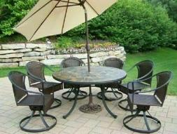 Oakland Living Tuscany Stone Art Outdoor Patio Dining Set wi