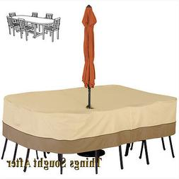 Veranda Patio Table Cover with Umbrella Hole- Medium- Rectan