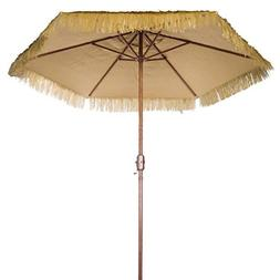 New 9' Wide Hawaiian Tiki Design 9' Thatch Patio Umbrella wi