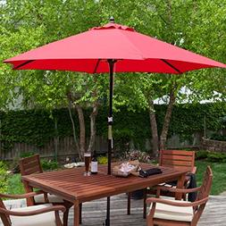 StarSun Depot Outdoor 9-Ft Wood Patio Umbrella with Red Cano